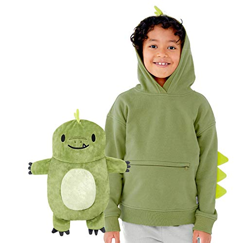 Cubcoats Kids Transforming 2 in 1 Pullover Sweatshirt with Hood and Convertible Soft Character Plushie, Dayo 6 to 7