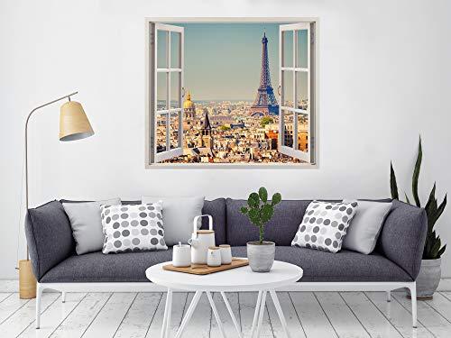Pegatinas 3D Vinilo Ventana Varias Medidas 85x75cm | Adhesivo Incluido | Decoración Habitación | Paris, Torre Eiffel Vista panorámica Diseño Elegante