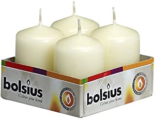 """Bolsius pack 4 Pillar Candles Small , """"Ivory 40 mm Width"""""""