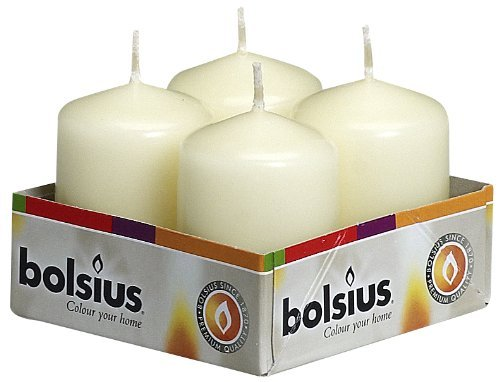 Bolsius pack 4 Pillar Candles Small , 'Ivory 40 mm Width'