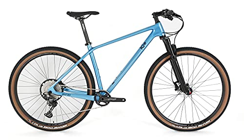 Bicicleta de montaña ICe MT10 Cuadro de Fibra de Carbono, Rueda 29', monoplato, 12V (Azul, 19')