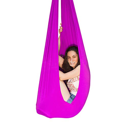 LHHL Columpio De Yoga Columpio De Terapia para Interiores para Niños con Necesidades Especiales Elástica Hamaca para Autismo Hiperactividad Aspergers (Color : Rose Red, Size : 150×280CM/59×110in)
