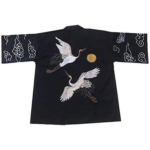 G-LIKE Japanischer Kimono Sommer Kleidung - Traditionelles Haori Federgewebe Kostüm Robe Überjacke Sonnenschutz Jacke Antiker Stil Nachthemd Bademantel Nachtwäsche für Damen Herren (Schwarz)