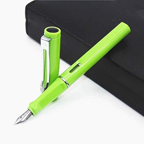 Pluma estilográfica SNERISE Pluma estilográfica Serie ligera 0.5 Nib 11 colores Tinta negra para niños Negocios Niños Negocios y escritura (Verde)