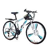 MENG Bicicleta de Montaña de 26 Pulgadas 21/24/27 Velocidad Dual Dual Frenos de la Suspensión Delantera Bicicleta para Adultos para Mujer para Mujer (Tamaño: 27 Velocidad, Color: Azul)/Blanco/24 Velo