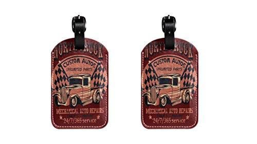 Camion Auto Maleta de Etiqueta de Equipaje de Cuero de PU, Correa de Cuero Ajustable Resistente a los arañazos, diseño Elegante Paquete de 2