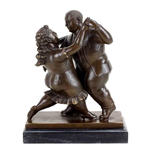 Kunst & Ambiente - Dynamische Bronzefigur - Paar beim Tanz - Fernando Botero Figur - signiert - Tanzpaar Skulptur - Statue