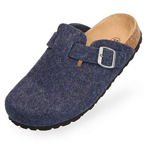 BOnova Wesel: Filzpantoffel in blau, Größe 45. Hausschuhe aus weichem Wollfilz, mit Kork-Fußbett, hergestellt in der EU