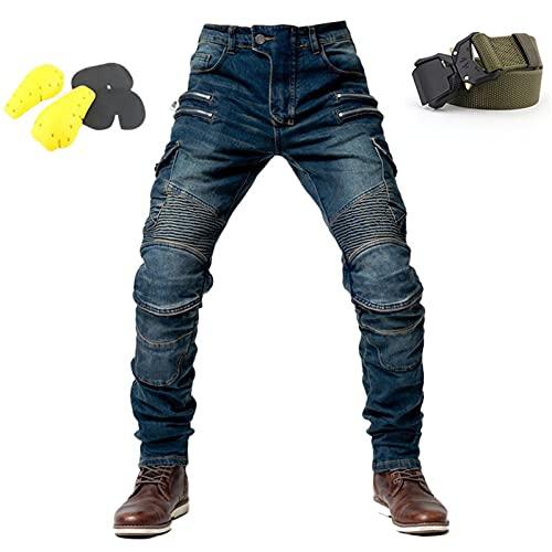 WWYL Motorradhose Für Herren,Herren-Schutzjeans, Sportliche Motorrad Hose Mit Protektoren Motorradhose, 4 X Schutzausrüstung (Blau,L)
