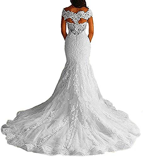 Meganbridal Women's Off Shoulder Cap Sleeves Mermaid Lace Wedding Dresses with Train for Bride Bridal Gown Long White