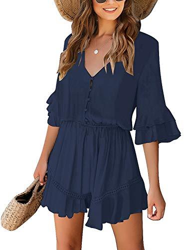 Roskiky Damen Fledermaus Ärmel V Ausschnitt Elegant Jumpsuit Overall Button down Playsuit Romper Marineblau Größe L