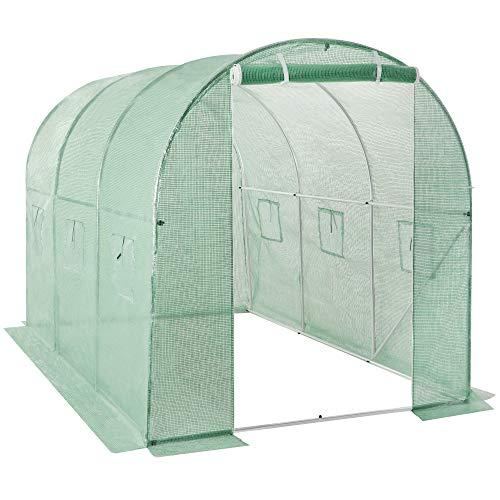 SONGMICS Serre de Jardin, 300 x 200 x 200 cm, Tunnel de Jardin, Abri Potager pour Plantes, avec Porte, 6 fenêtres, Chevilles, pour légumes, Jardin, extérieur, Vert GWP032C01