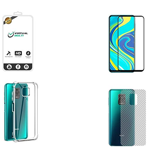 Kit Completo Para Xiaomi Redmi Note 9s e 9 Pro Película de Vidro 3D Capa Antishock Película Lente Câmera Película Traseira Fibra de Carbono