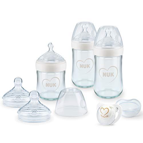 NUK Nature Sense Babyflaschen aus Glas, Starter Set | 0–6 Monate | 3 x Anti-Colic-Babyflaschen, Sauger & Genius Schnuller | BPA-frei | Herz (neutral) | 7 Stück
