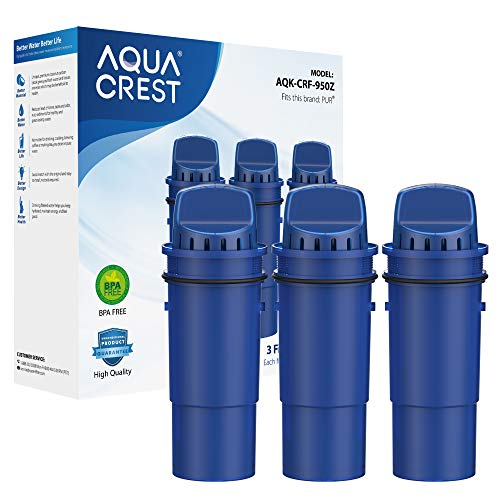 AQUA CREST CRF-950Z NSF Certified Pitcher Water Filter, Compatible with Pur Pitchers and Dispensers PPT700W, CR-1100C, DS-1800Z and PPF951K, PPF900Z Water Filter (Pack of 3)