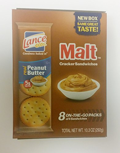 Lance Malt Real Peanut Butter Sandwich Crackers, 1.29 oz, 8 count