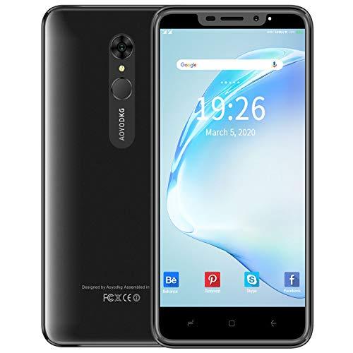 4G Handy ohne Vertrag, 5,5-Zoll 1GB RAM + 16GB ROM, 128GB erweiterbar, Dual-Kamera 8MP + 5MP, Android 9, 0 Dual-SIM-Telefon, SIMlockfreie Smartphone, Entsperrte Fingerabdrücke/Face ID, Schwarz