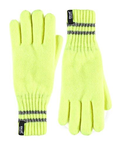 HEAT HOLDERS - Uomo invernali caldi riflettenti guanti termici in arancione e giallo (L/XL, Hi Vis Yellow)