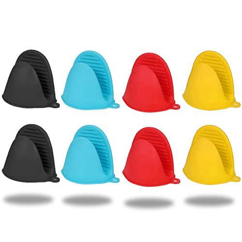 Ylinwtech Mini Guantes de Silicona para Horno,8 Piezas Silicona Mini Manoplas Horno,Multifuncionales Horno Guantes Accesorios,para Horno,Cocinar y Horneado,Microondas,Platos(4 Colores)