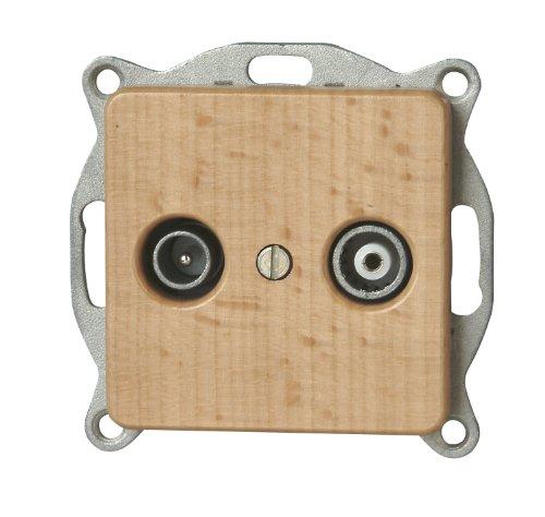 Kopp 917031089 Milano Buche Antennensteckdose mit zwei Ausgängen, TV/RF, Einzel- und Durchgangsdose