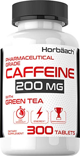 Caffeine Pills 200mg with Green Tea | 300 Tablets | Vegetarian, Non-GMO & Gluten Free | by Horbaach