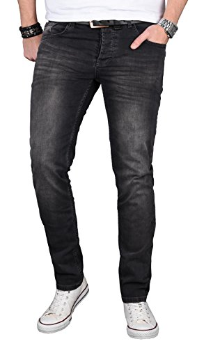 Alessandro Salvarini Designer Herren Jeans Hose Regular Slim Fit Jeanshose Basic Stretch [AS-057 - W34 L30] , Schwarz Washed