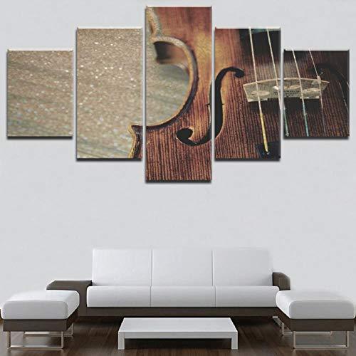 Wslin Hd druk 5 stuks muziekinstrumenten viool snaren retro klassieke muziek schilderij poster wooncultuur woonkamer afdrukken op canvas 150 x 80 cm