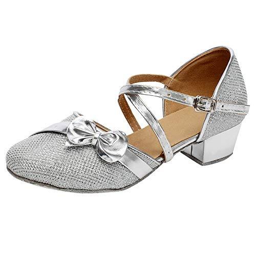 Zapatos de Tango Latino para Niños Vestir Fiesta Arco Princesa Sandalias Arco Lentejuelas Zapatitos de Tacón Bebé Niña Primavera Verano Zapatillas de Baile Niñas