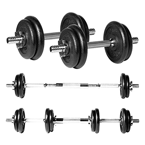 JLL 20kg Cast Iron Dumbbell & Barbell Set 2021 4x 1.75kg and 4x 2.5kg weight plates, 4x spin-lock collars, steel connecting bar, hammer tone look, resilient and long lasting training