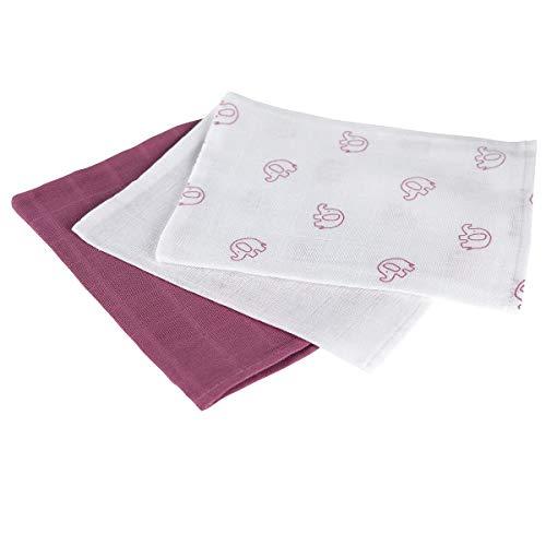 Bornino Lot de 3 gants de toilette en gaze 15 x 20 cm gant de toilette bébé, violet