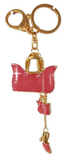 Lillebors Flamencoladen Tasche mit Highheel Schlüsselanhänger aus Metall - Taschenanhänger mehrteilig mit 2 Handtäschchen und Pumps
