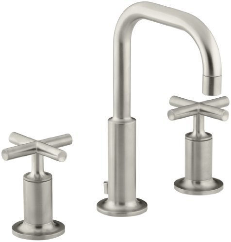 Kohler Purist WC-Armatur mit niedrigem Schwanenhals und niedrigem Kreuzgriff Modern Gebürstetes Nickel