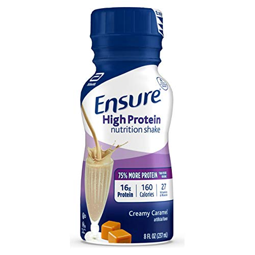 Ensure High Protein Nutritional Shake with 16g of Protein, Ready-to-Drink Meal Replacement Shakes, Low Fat, Creamy Caramel, 8 fl oz, 24 Count