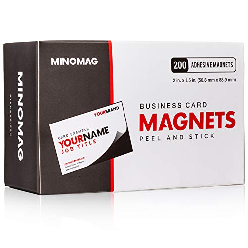 Minomag Business Card Magnets | Peel and Stick Adhesive Magnetic Backings (Box of 200, 3.5 inch x 2 inch Magnets)