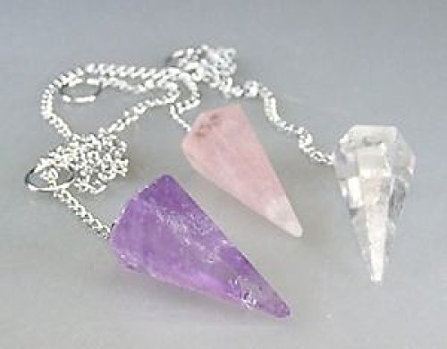 3er Pendel Set facettiert ca. 4 cm Amethyst, Rosenquarz, Bergkristall Edelstein