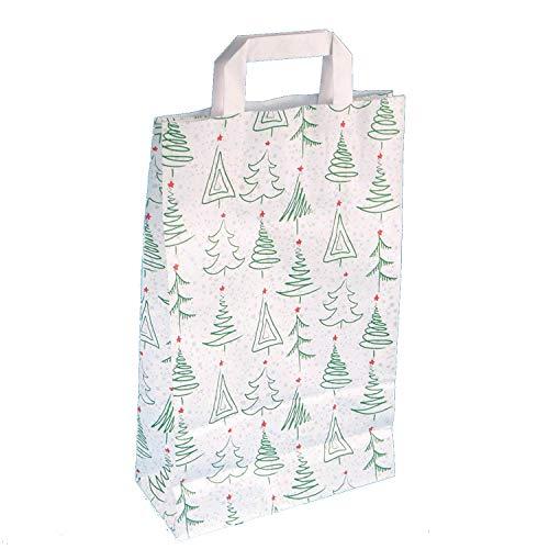 Pro DP Papiertragetaschen Weihnachtstragetaschen Papiertüten Weihnachten Weihnachtsmotiv Weihnachtsbäumchen grün rot mit Flachhenkel weiß 70 g/qm (22 +10 x 36 cm, 250 Stück)