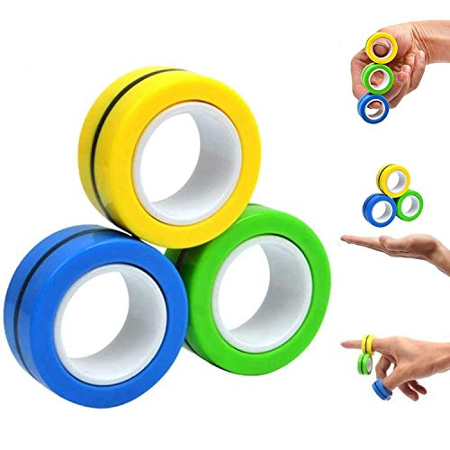 FATIZONE Fingears Magnetic Rings Fidget Spinner Toy | Stress, Anxiety Relief Magnetic Spinner Ring -...