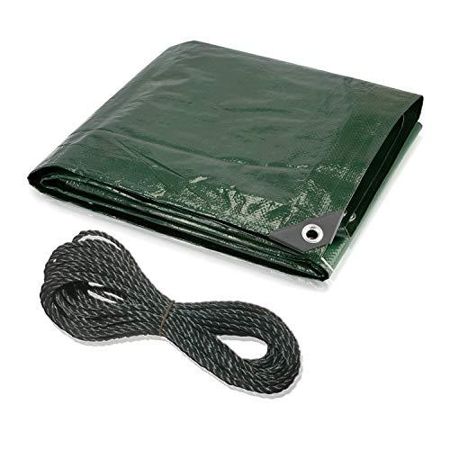 CoverUp! lona impermeable exterior 3 x 3 m [120 g/m2] + cuerda de 14 m, lona de protección con ojales para muebles de jardín, piscina, camiones, lona de protección impermeable y resistente a la rotura