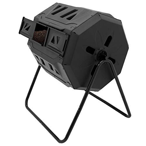 ECD Germany Compostador de Tambor Negro PP de Doble Cámara de 160 litros con Ventilación Giratorio...