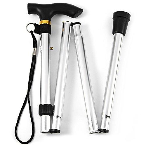eBaskit Ltd® Verstellbarer, zusammenklappbarer Gehstock, aus Metall, für Reisen