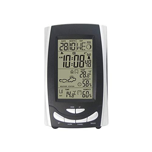 MRZ Ashcan binnen- en buitentemperatuur Hygrometer, Draadloos weerstation Alarm Klok Elektronisch Digitaal Klok Beeldscherm
