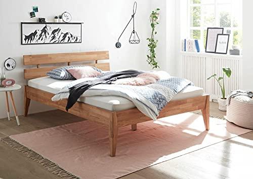 Yeer Bettgestell Eiche Geölt Massiv 140x200 cm mit Kopfteil Schlafzimmer Bett