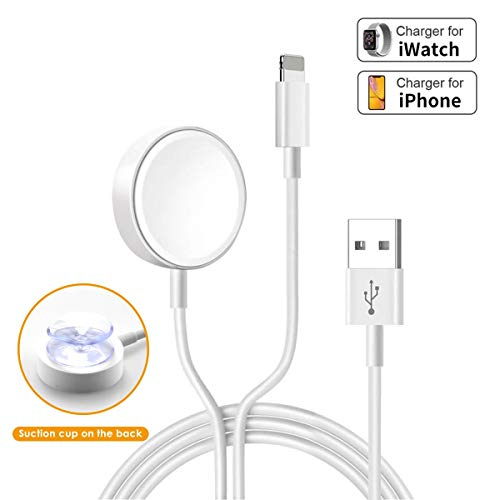 Uoeos 2 in 1 Wireless Charger for iWatch & iPhone Charger Cable 5ft/1.5m Portable Charging Cable Compatible with for iWatch Series 4/3/2/1& iPhoneXR/XS/XS Max/X/8/8Plus iWatch Charger