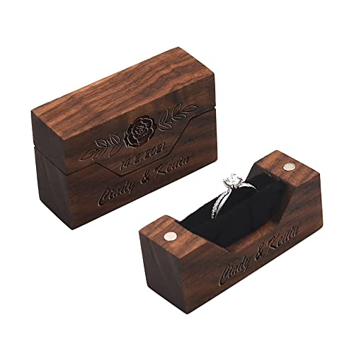Caja de anillo de nogal personalizada, caja de portador de anillo de boda pequeña portátil, estilo retro, caja organizadora de joyería para ceremonia boda compromiso