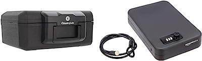 SentrySafe 1200 Fireproof Box with Key Lock, 0.18 Cubic Feet , Black & Amazon Basics Portable Security Case Lock Box Safe, Combination Lock, Large