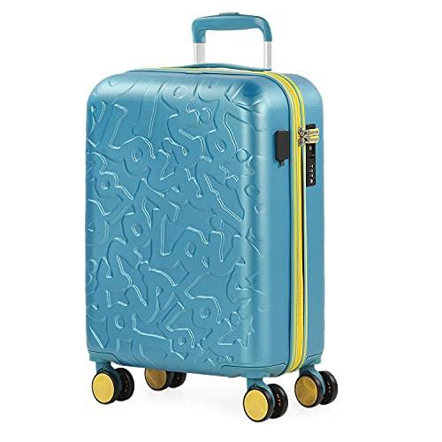 Lois - Maleta Cabina Avión 55x36x20 para Viaje con Puerto Carga USB Doble y 4 Ruedas Dobles Trolley - Maleta de Mano Avión Pequeña 10 Kg Equipaje - Trolley ABS Rígida, Cómoda y Liger, Color Aguamarina