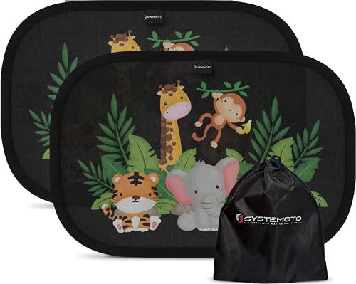 Systemoto Sonnenschutz Auto Baby - Extra dunkel - Zertifizierter UV-Schutz - 2er Set Selbsthaftende Sonnenblenden für Kinder (Wildlife)