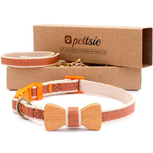 Pettsie Breakaway Cat Collar Bowtie and Friendship Bracelet, Gift Box Included, Durable 100% Cotton,...