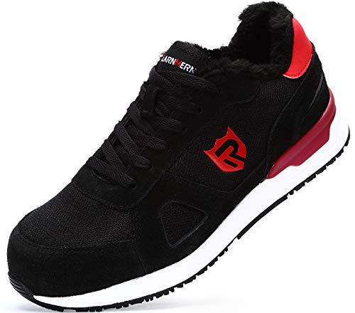 LARNMERN Sicherheitsschuhe Herren Damen,Atmungsaktive Leicht Reflektierende rutschfeste Arbeitsschuhe Sportlich Stahlkappe Sneaker mit Fell (43 EU Schwarz/Rot)