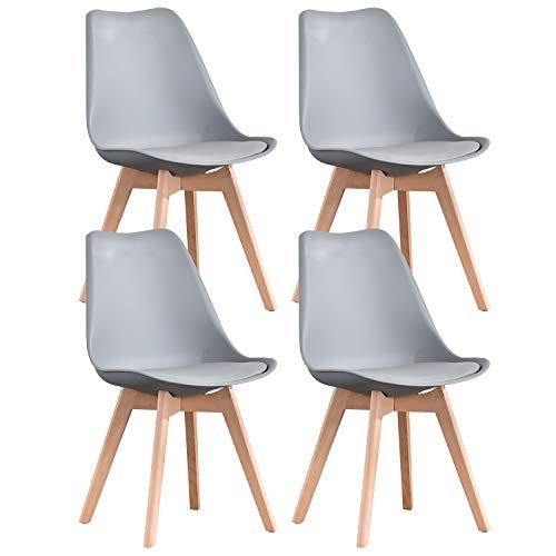 INJOY LIFE - Silla de comedor de cocina moderna de mediados de siglo con patas de madera y sillas tapizadas para comedor, sala de estar, dormitorio, juegos de 4, color gris